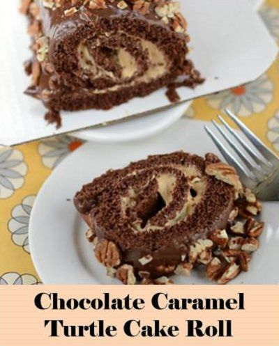 Chocolate Caramel Turtle Cake Roll | Desserts | Pinterest