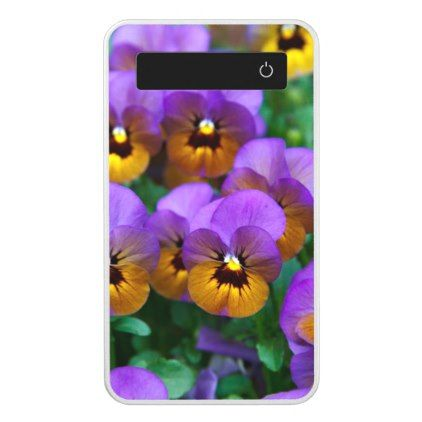 Purple and Gold Pansies Power Bank - diy cyo customize create your own personalize