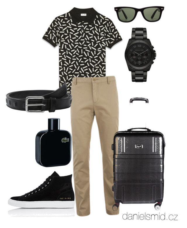 """""""Sand with Onyx"""" by danielsmid on Polyvore featuring Ray-Ban, Yves Saint Laurent, Lacoste, Michael Kors, The Kooples, Bugatti, Common Projects, men's fashion and menswear"""