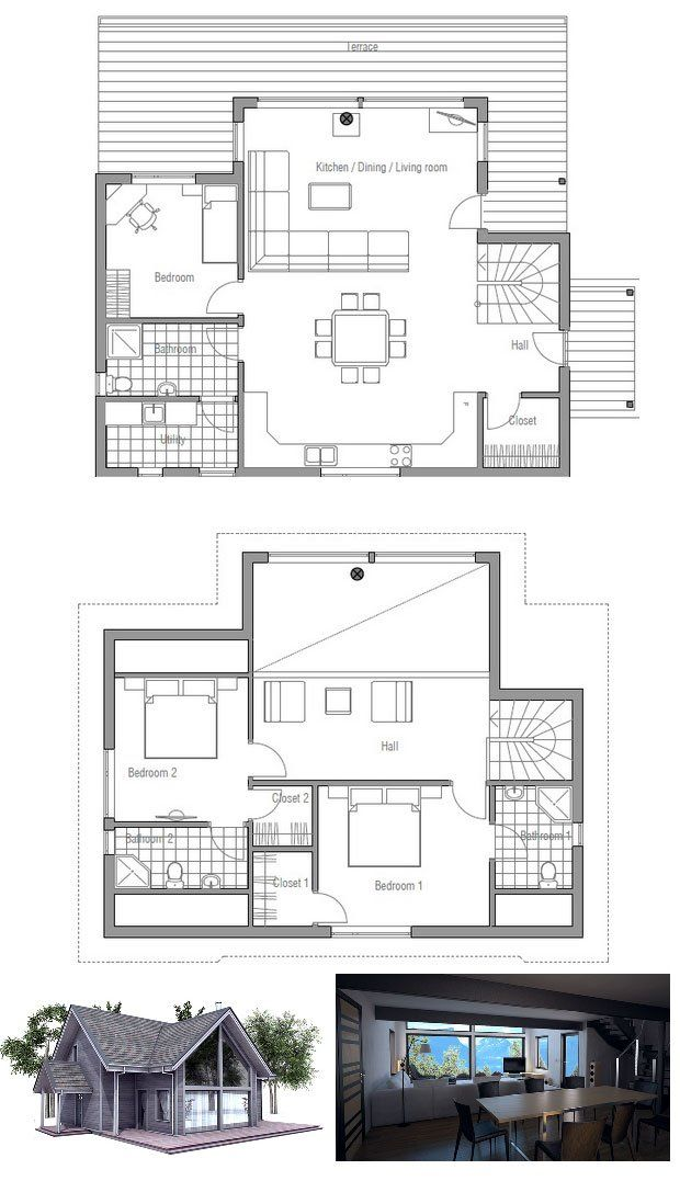 Small house plan, three bedrooms, vaulted ceiling, affordable building budget, open interior areas. Floor Plan.