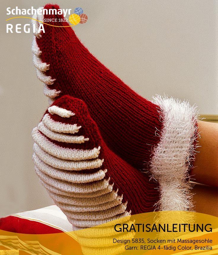 Was haben Weihnachten und eine Fußreflexzonenmassage gemeinsam? Eine Menge, wenn Sie diese witzigen Socken betrachten! Das Bündchen ist in Schachenmayr #BraziliaWolle in Weiß gearbeitet und bietet in Kombination mit dem Schaft in #Regia 6-fädig in Kirsche einen wunderbar weihnachtlichen Look. Für gut durchblutete Füße sorgen dabei die an der Sohle eingearbeiteten Biesen!