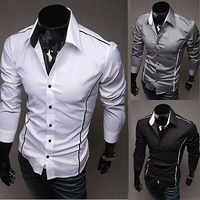 UK Style New Mens Luxury Casual Slim Fit Stylish Dress Shirts 5 Size 3 Colors