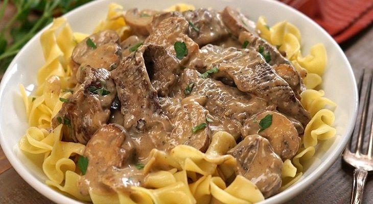 receta ternera strogonoff