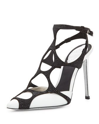 Swarovski& Crystal Web Slingback Pump, Black/White by Rene Caovilla at  Neiman Marcus.