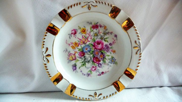 Vintage Porcelain Ashtray Czechoslovakia, 24K Gold Ceramic Ashtray Bohemia Czech by Grandchildattic on Etsy