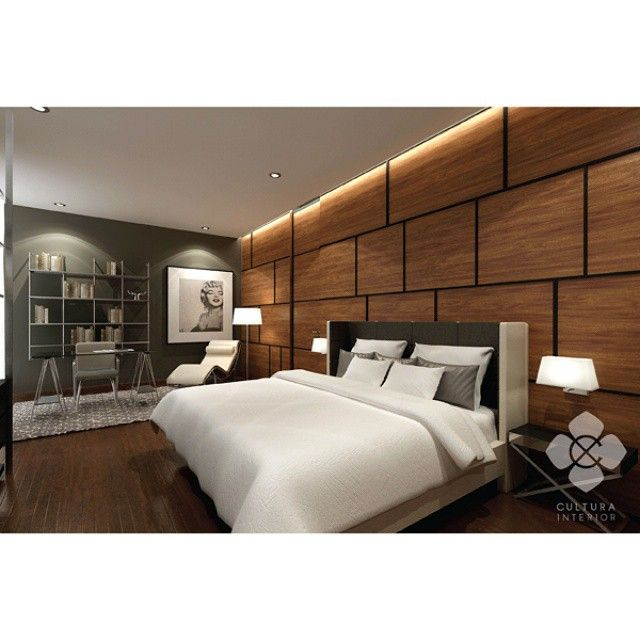 Simple and modern bedroom design with dark wooden wall combined with black, silver, and white themed furniture.  Designed by @culturainterior  #interior #interiordesign #interiorinspiration #bedroom #bedroominterior #houseinterior #interiorsemarang #interiorindonesia #culturainterior