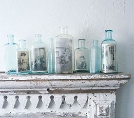 Love this idea!: Display Photos, Vintage Photos, Vintage Bottle, Photos Display, Families Photos, Glasses Bottle, Old Bottle, Old Photos, Pictures Frames