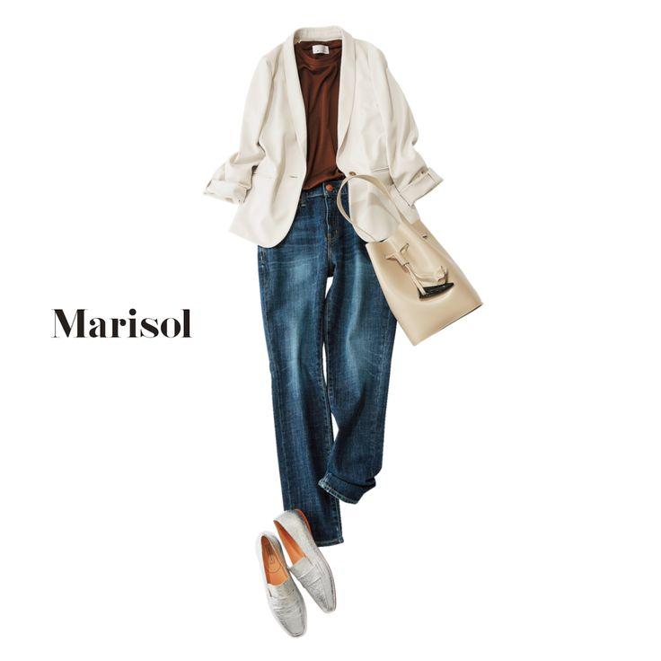 40代が着こなすTシャツ&デニムコーデは旬ブラウンで今年顔に!Marisol ONLINE|女っぷり上々!40代をもっとキレイに。