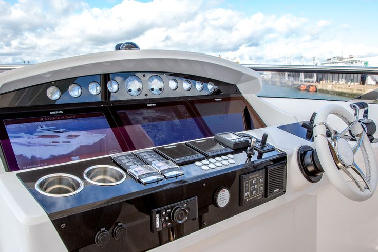 The Wheelhouse of the stunning 95 Sunseeker Yacht. 'Pin' if you would love to be at the wheel of this fabulous yacht.