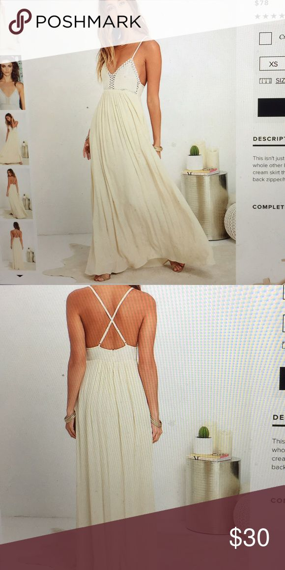 Lulus hippie chic cream maxi dress-XS Worn one- XS, super comfortable and flattering! Lulu's Dresses Maxi
