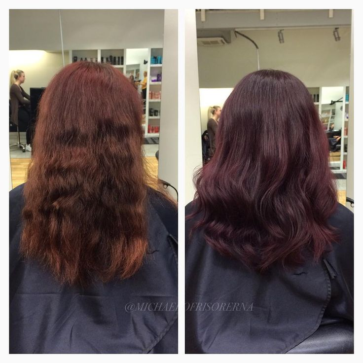 En gammal koppar toning blir en mustig mörklila, Sandra använder olaplex för att stärka håret och ge ny glans och hållbarhet, och avslutar med kerastase vårdande serie för färgat hår. ☺️ #michaelofrisorerna #hairpassion #stockholm #ombre #ombrehår #ombrehair #balayage #olaplex #olaplexsweden #hair #hairstyle #hairstylist #hår #haircolour #hairfashion #Longhair #hairdresser #blondehair #blonde #brownhair #curlyhair