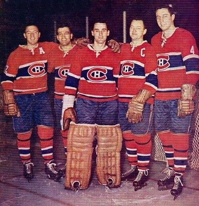 Dickie Moore, Boom Boom Geoffrion, Jacques Plante, Doug Harvey & Jean Beliveau - 1960