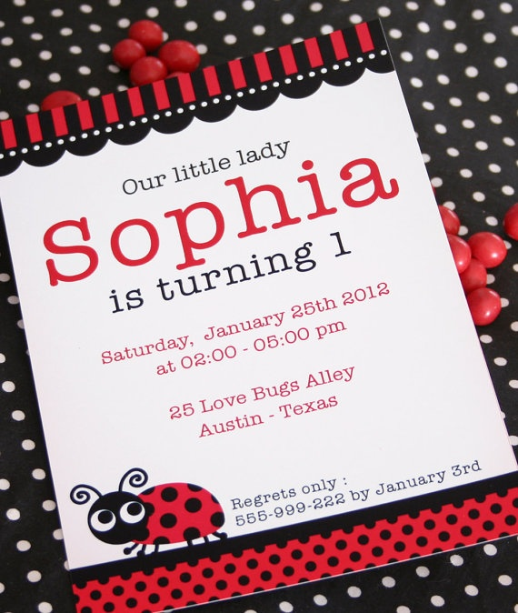 DIY PRINTABLE Invitation Card - Red LadyBug Party Invitation - PS815CA1a