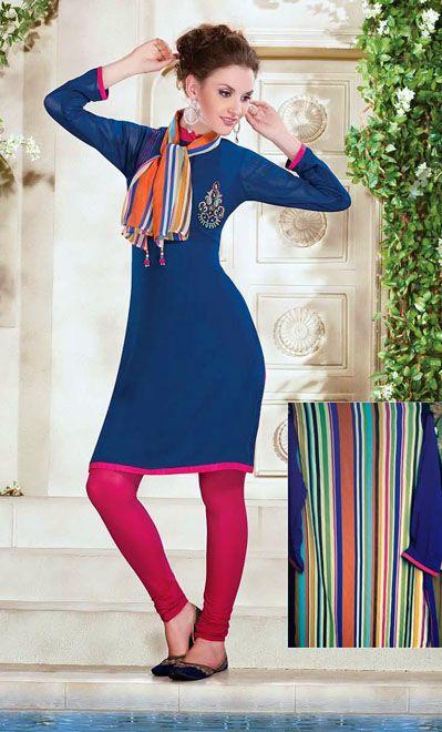 USD 56.29 Blue Chiffon Casual Wear Kurti    34974