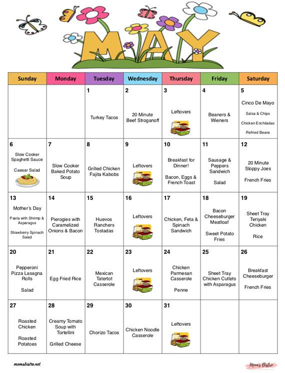 May 2018 - Monthly Meal Planner with Weekly Grocery List  Recipes