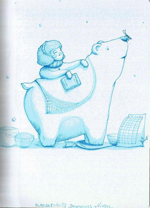 """Dragones y viajes. Escuchando """"in the morning-Mallu Magalhães"""".Marzo 2015. / Sketchbook+lápiz azul."""