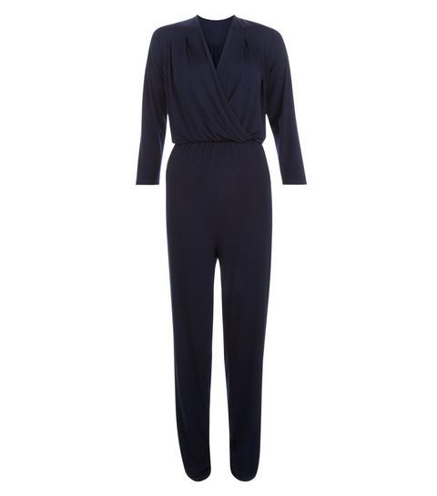 Mela Navy V Neck Wrap Jumpsuit
