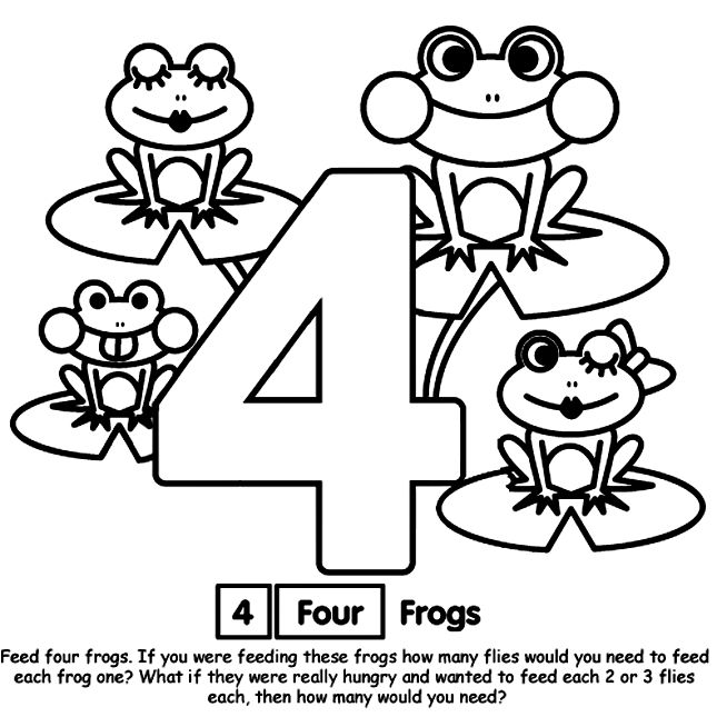 number 4 coloring page