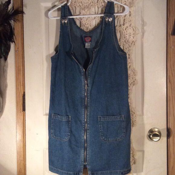 Spotted while shopping on Poshmark: Vintage denim zip up dress! #poshmark #fashion #shopping #style #No aexcuses #Dresses & Skirts