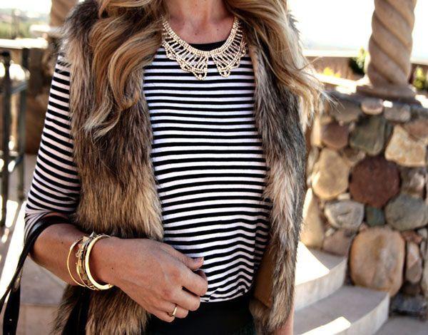 Fur vest and stripes