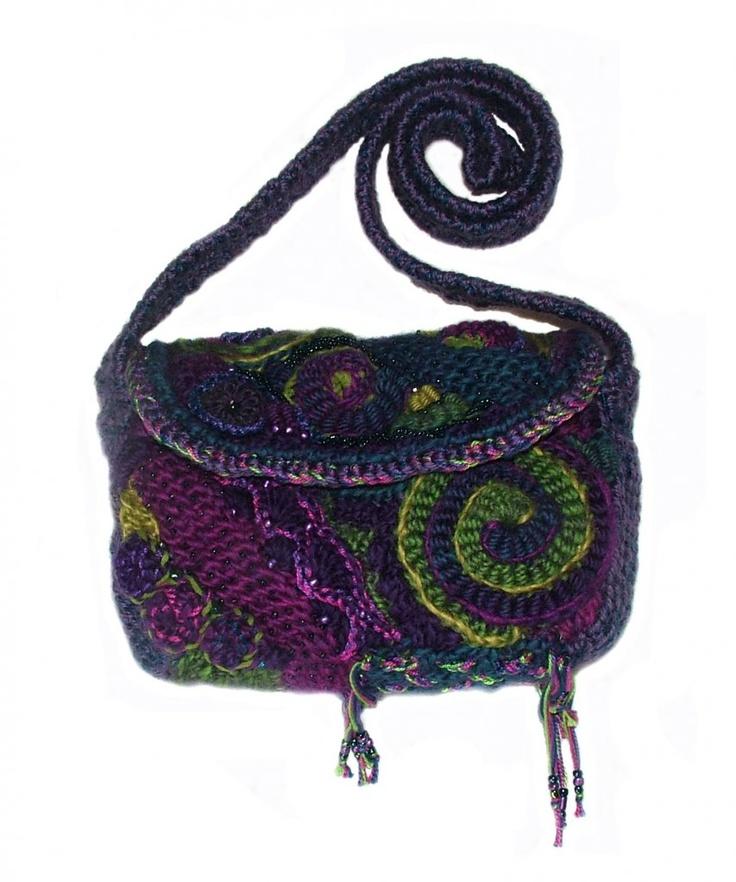 Spiral freeform crochet bag