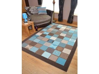 Chocolate Brown And Teal Blue Square Design Design Rug