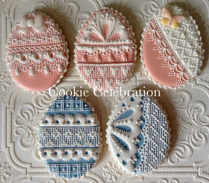 Lace and Needlepoint Eggs (Cookie Celebration)