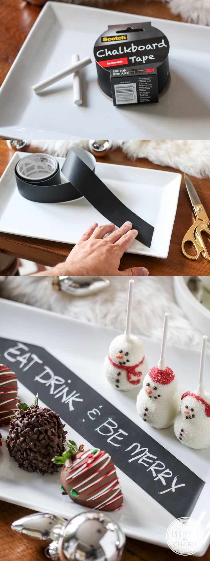 Add a chalkboard label to your serveware to write out a merry message or label your sweet treats! The best part? The tape peels right off when you're done! #12days72ideas Nx