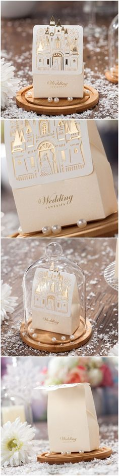 Disney fairy tale themed elegant laser cut wedding favor boxes