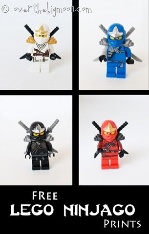 Lego Ninjago Free Art for kids room or playroom. High resolution so you can print them really big. They also have Star Wars figure prints for free too!