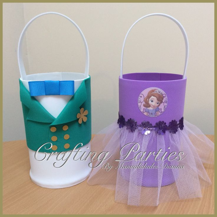 Sofia the First & Prince James inspired goodie bags. Hand made out of EVA foam. Sofia the first bag has metalic purple flower ribbon and purple tulle. Prince James bag has thick cardstock in a gold color for the flower & buttons. The neck bow tie is made using blue grosgrain ribbon. www.facebook.com/CraftingPartiesByDianna