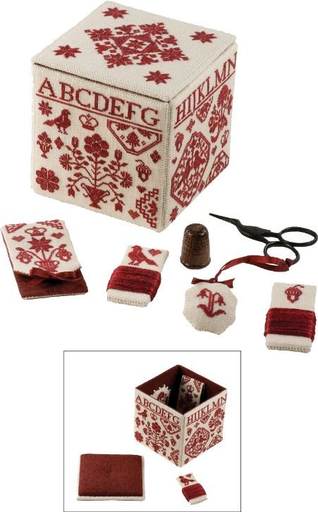 A Quaker Needlework Box is a small embroidered box which measures almost 3-1/2 x 3-1/2 inches. Two embroidered pinkeep medallions adorn the inside of the box, and another pincushion is on the inside of the box lid. Charts and directions are included for the embroidered box, the pinkeep medallions, a scissors weight, a needlebook, and two threadwinders. The motifs are all cross stitched over one linen thread, but you can stitch them over two linen threads to create larger items.