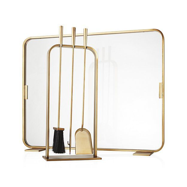 Shop Lana Brass Fireplace Screen. Our contemporary fireplace screen, designed by Ana Reza-Hadden, frames fires in a rounded square of gold-plated iron. Tempered glass screen leaves the view unobstructed while protecting from sparks.