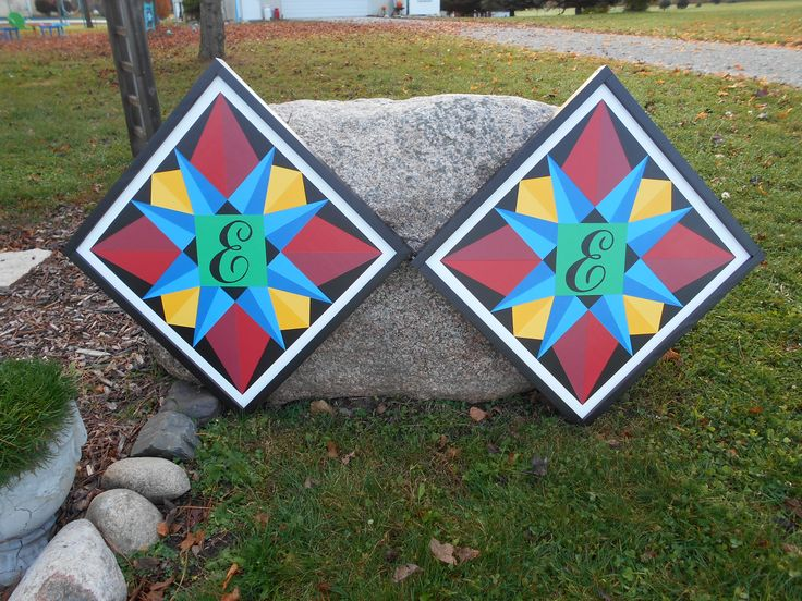Star Barn Quilts with Monogram and Black Frames 2'x2' morningstarbarnquilts.com
