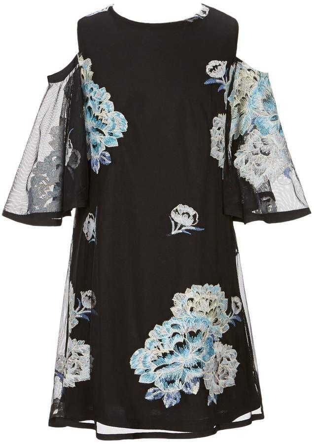 b4a1437ec GB Girls Social Big Girls 7-16 Cold-Shoulder Floral Embroidered ...
