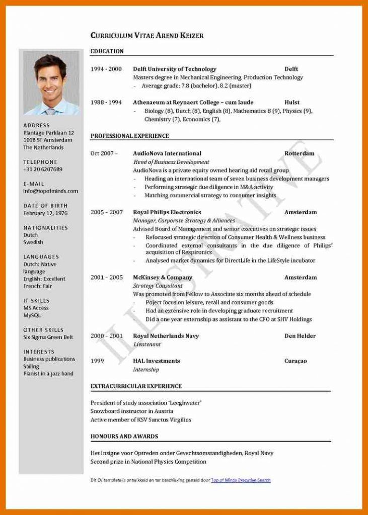 format of writing resume
