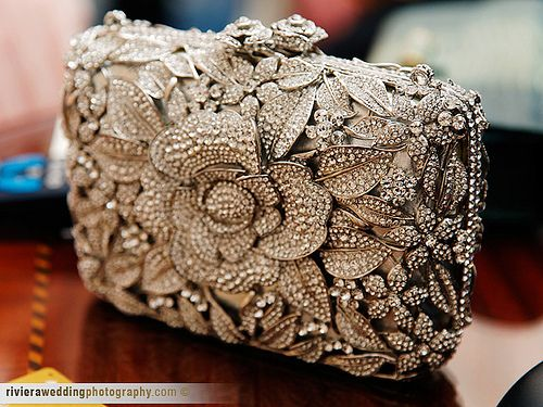 Diamond and Pearl Encrusted Floral Clutch Purse
