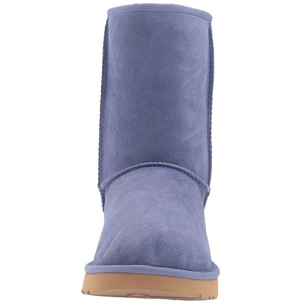 UGG Classic Short II (Pajama Blue) Women's Boots ($107) ❤ liked on Polyvore featuring shoes, boots, ugg australia boots, fur boots, water-resistant boots, low heel boots and short ankle boots