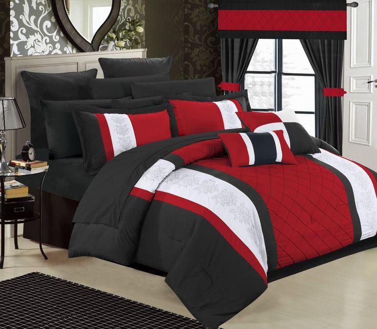 Bed in a Bag Comforter Set, King, Red