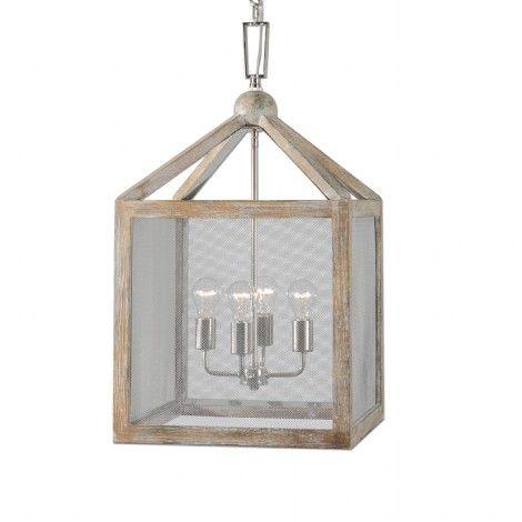 luminaire suspendu style lanterne en bois gris taupe essuy avec chandelier chrome l 39 int rieur. Black Bedroom Furniture Sets. Home Design Ideas