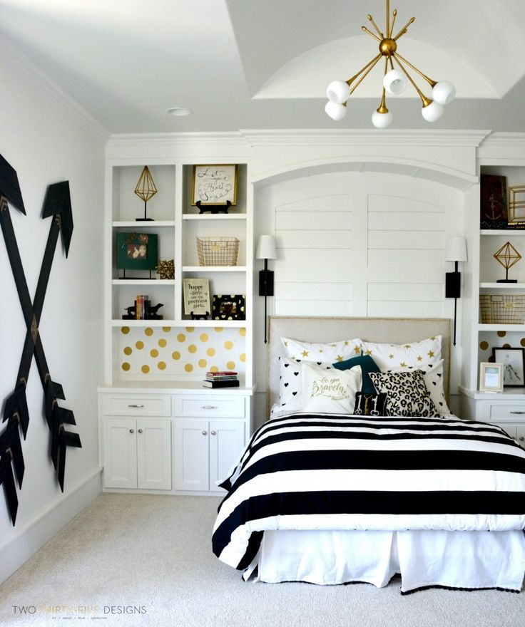 pottery barn teen girl bedroom with wooden wall arrows by two thirtyfive designs white bed black furniture d
