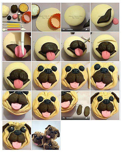 Pug Cupcake Topper Picture Tutorial