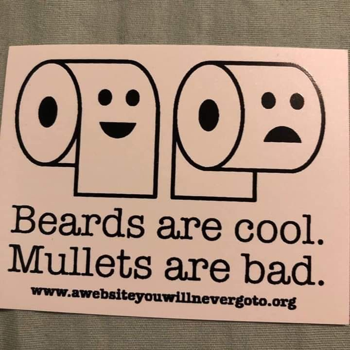 Beards Are Cool Mullets Are Bad Paper In The Back