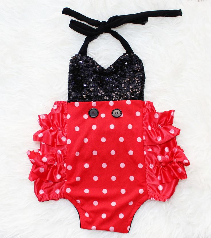 Mickey Mouse Red Polka Sparkle Romper with Buttons #BelleThreadsPinterest