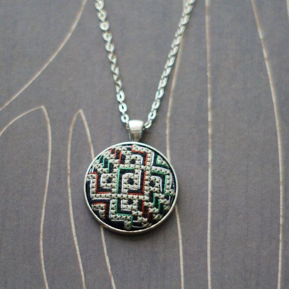 Modern geometric cross stitch necklace/ pendant by TheWerkShoppe, $38.00