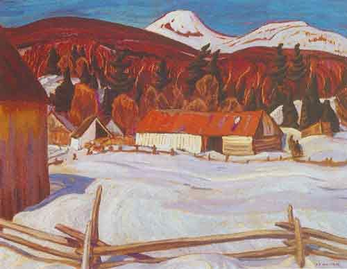 Alexander Y. Jackson,  Red Barn Petite Riviere Fine Art Reproduction Oil Painting