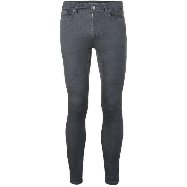 TOPMAN Dark Grey Super Spray On Skinny Jeans (5425 DZD) ❤ liked on Polyvore featuring men's fashion, men's clothing, men's jeans, grey, mens skinny fit jeans, mens grey skinny jeans, mens super skinny jeans, mens skinny jeans and mens gray jeans