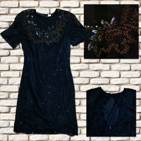 Black Sequin Cocktail Dress by BessieMidge on Etsy, £25.00