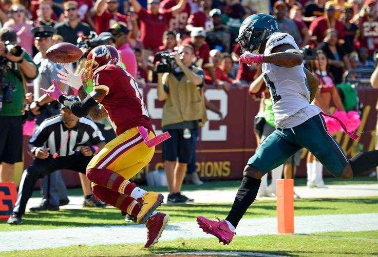 Eagles vs. Redskins:     October 16, 2016   -  27-20, Redskins  -     Washington Redskins wide receiver DeSean Jackson, left, is unable to hold onto a pass attempt in the end zone in front of Philadelphia Eagles free safety Jalen Mills in the first half of an NFL football game, Sunday, Oct. 16, 2016, in Landover, Md.