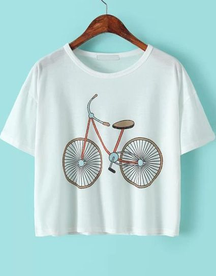 White Short Sleeve Bicycle Print T-Shirt -SheIn(Sheinside)X